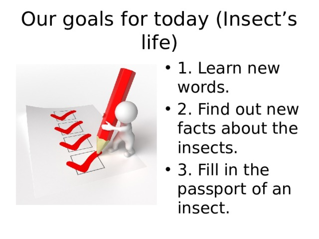 Our goals for today (Insect's life)
