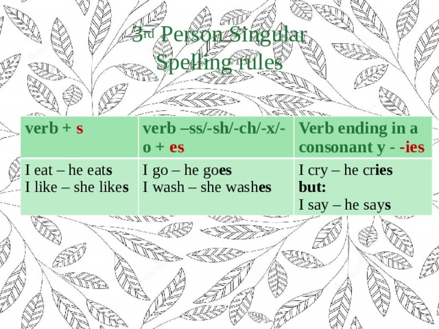 3 rd Person Singular  Spelling rules verb + s verb –ss/-sh/-ch/-x/-o + es I eat – he eat s Verb ending in a consonant y - -ies I like – she like s I go – he go es I wash – she wash es I cry – he cr ies but: I say – he say s