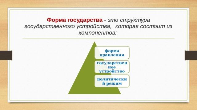 Форма государства - это структура государственного устройства,  которая состоит из компонентов: форма правления государственное устройство политический режим