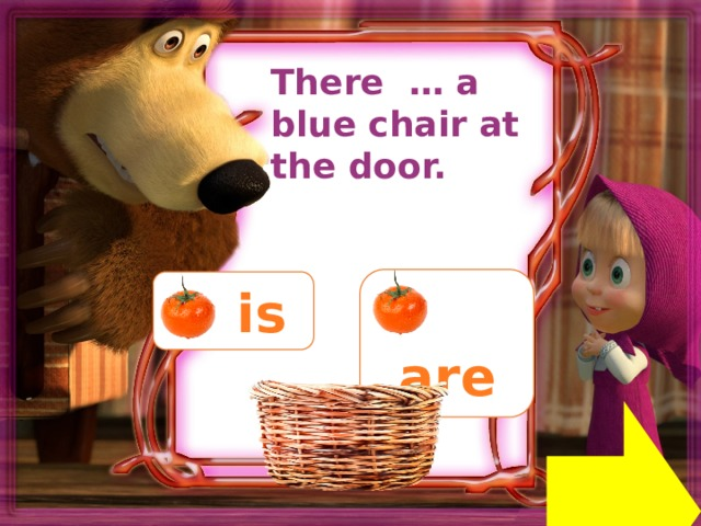 There … a blue chair at the door.  are  is Next