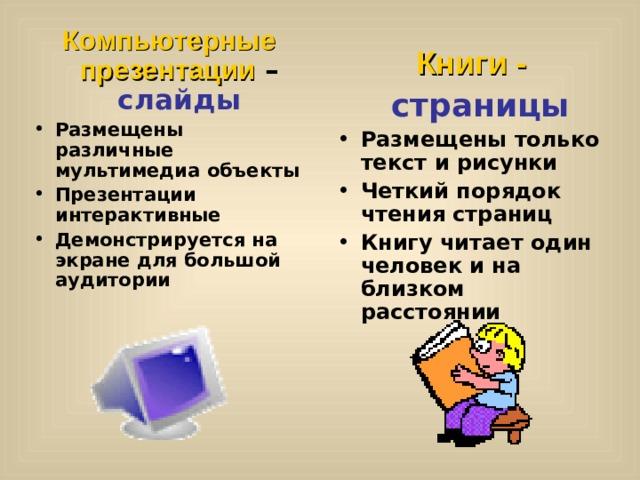 Компьютерные презентации – слайды Размещены различные мультимедиа объекты Презентации интерактивные Демонстрируется на экране для большой аудитории Книги -   страницы