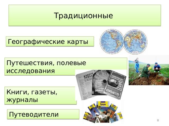 Источники географической информации Стр. 21 рис. 1 2 Традиционные Современные