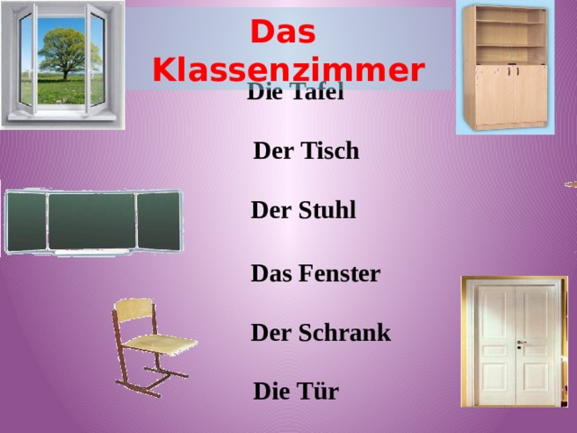Das Klassenzimmer Die Tafel Der Tisch  Der Stuhl  Das Fenster  Der Schrank Die Tür