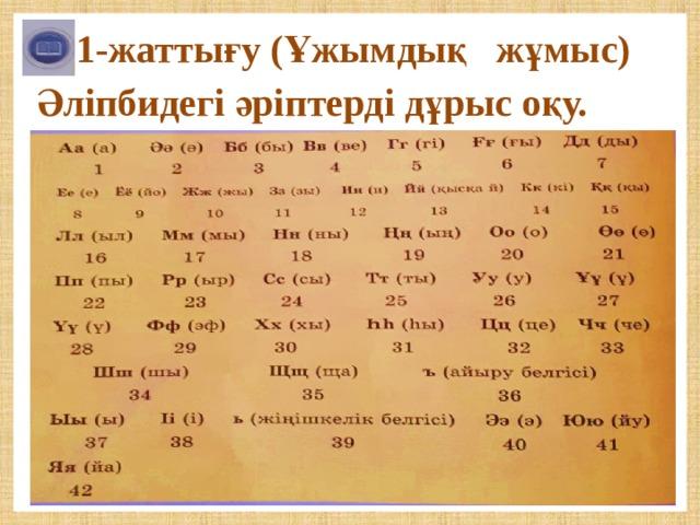 1-жаттығу (Ұжымдық жұмыс) Әліпбидегі әріптерді дұрыс оқу.