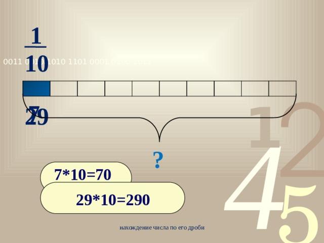 1 10 7 29 ? 7*10=70 29*10=290 нахождение числа по его дроби