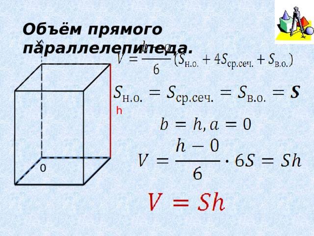 Объём прямого параллелепипеда. х h 0
