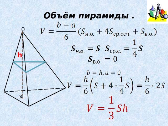 Объём пирамиды . 0 h х