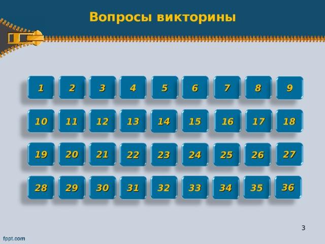 Вопросы викторины 2 3 4 5 1 6 7 8 9 17 18 16 15 13 12 11 10 14 27 21 20 19 22 25 26 23 24 36 32 33 35 30 29 28 31 34 2