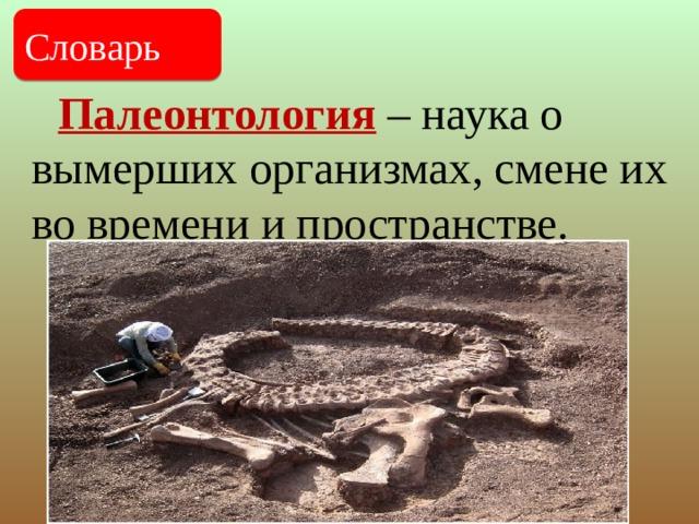Палеонтология – наука о вымерших организмах, смене их во времени и пространстве. Словарь