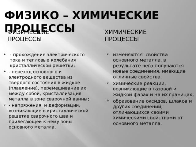 ФИЗИКО – ХИМИЧЕСКИЕ ПРОЦЕССЫ ФИЗИЧЕСКИЕ ПРОЦЕССЫ ХИМИЧЕСКИЕ ПРОЦЕССЫ