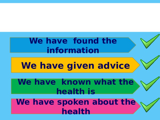 We have found the information We have given advice We have known what the health is We have spoken about the health