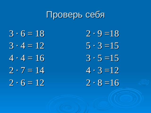 Проверь себя 3 ∙ 6 = 18 2 ∙ 9 =18 3 ∙ 4 = 12 5 ∙ 3 =15 4 ∙ 4 = 16 3 ∙ 5 =15 2 ∙ 7 = 14 4 ∙ 3 =12 2 ∙ 6 =  12  2 ∙ 8 =16