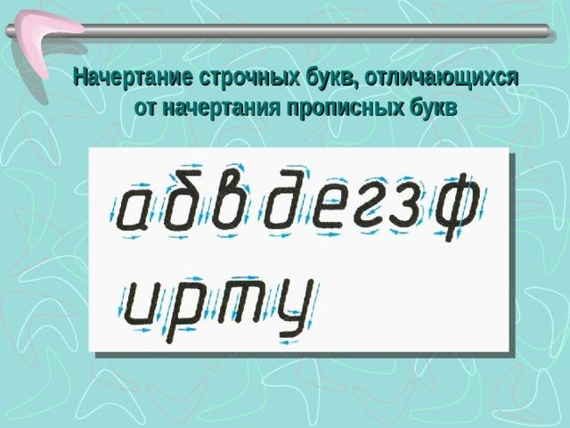 Начертание строчных букв, отличающихся от начертания прописных букв
