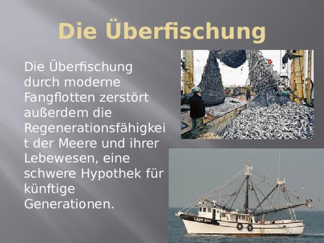 Die Überfischung Die Überfischung durch moderne Fangflotten zerstört außerdem die Regenerationsfähigkeit der Meere und ihrer Lebewesen, eine schwere Hypothek für künftige Generationen.