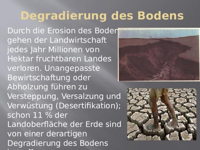 Degradierung des Bodens Durch die Erosion des Bodens gehen der Landwirtschaft jedes Jahr Millionen von Hektar fruchtbaren Landes verloren. Unangepasste Bewirtschaftung oder Abholzung führen zu Versteppung, Versalzung und Verwüstung (Desertifikation); schon 11 % der Landoberfläche der Erde sind von einer derartigen Degradierung des Bodens betroffen.