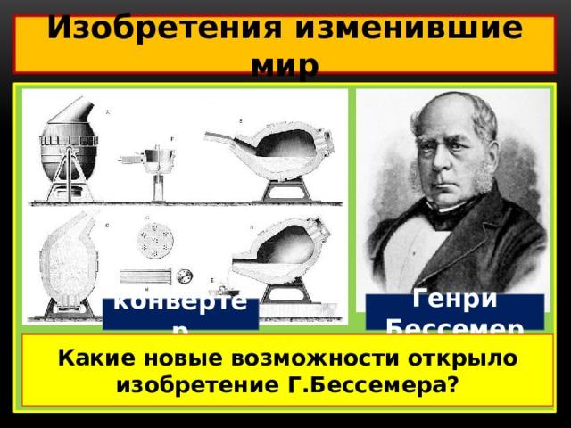 Изобретения изменившие мир  Генри Бессемер конвертер Какие новые возможности открыло изобретение Г.Бессемера?