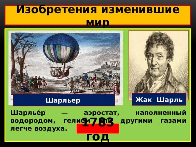 Изобретения изменившие мир  Жак Шарль Шарльер Шарлье́р — аэростат, наполненный водородом, гелием или другими газами легче воздуха. 1783 год