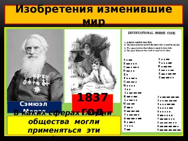 Изобретения изменившие мир  Умирающий Геркулес 1837 год Принимающий аппарат Сэмюэл Морзе В к аких сферах жизни общества могли применяться эти изобретения?