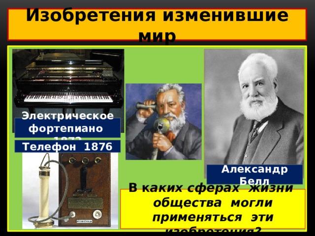 Изобретения изменившие мир  Электрическое фортепиано 1872 Телефон 1876 Александр Белл В к аких сферах жизни общества могли применяться эти изобретения?