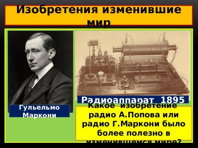Изобретения изменившие мир  Радиоаппарат 1895 Гульельмо Маркони Какое изобретение радио А.Попова или радио Г.Маркони было более полезно в изменившемся мире?