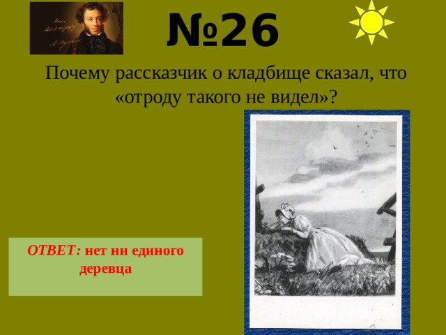 № 26  Почему рассказчик о кладбище сказал, что «отроду такого не видел»? ОТВЕТ: нет ни единого деревца