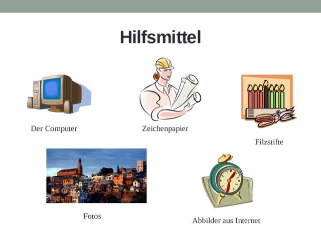 Hilfsmittel Zeichenpapier Der Computer Filzstifte Fotos Abbilder aus Internet