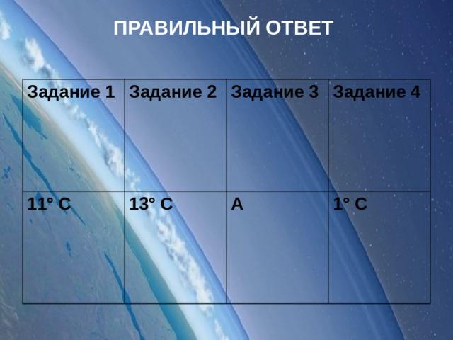 ПРАВИЛЬНЫЙ ОТВЕТ Задание 1 Задание 2 11° С 13° С Задание 3 Задание 4 А 1° С