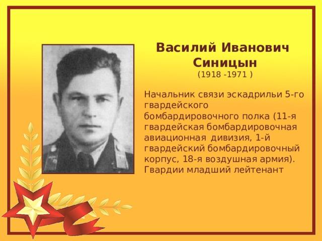Василий Иванович Синицын (1918 -1971 ) Начальник связи эскадрильи 5-го гвардейского бомбардировочного полка (11-я гвардейская бомбардировочнаяавиационнаядивизия, 1-й гвардейский бомбардировочный корпус, 18-я воздушная армия). Гвардии младший лейтенант