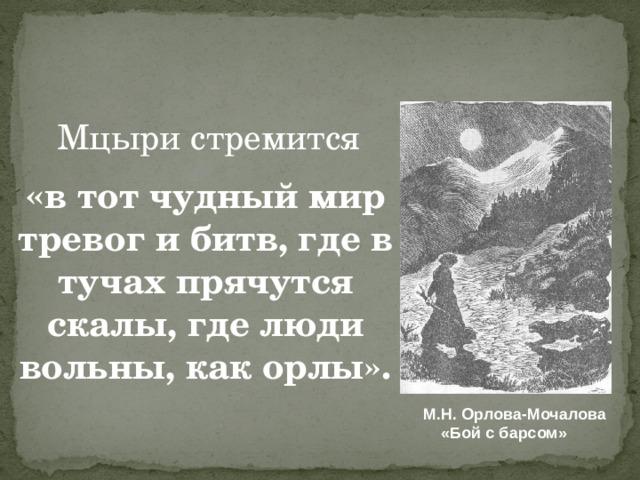 Мцыри стремится « в тот чудный мир тревог и битв, где в тучах прячутся скалы, где люди вольны, как орлы». М.Н. Орлова-Мочалова  «Бой с барсом»