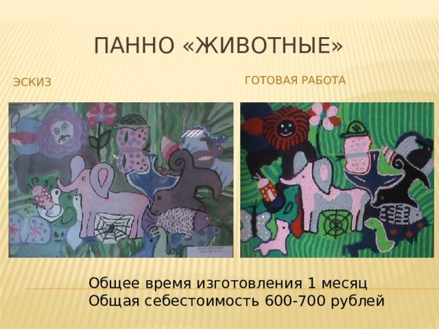 Панно «Животные» Готовая работа Эскиз Общее время изготовления 1 месяц Общая себестоимость 600-700 рублей