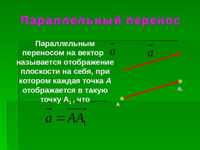 Параллельным переносом на вектор называется отображение плоскости на себя, при котором каждая точка А отображается в такую точку А 1 , что А 1 А