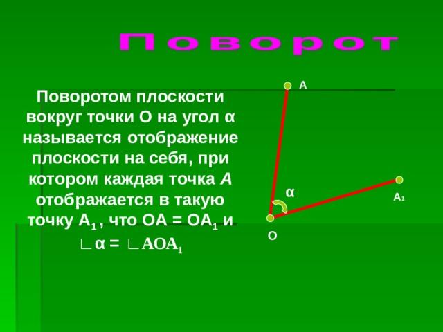А Поворотом плоскости вокруг точки О на угол α называется отображение плоскости на себя, при котором каждая точка А отображается в такую точку А 1 , что ОА = ОА 1 и ∟ α = ∟АОА 1 α А 1 О