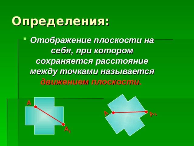 А 1 А Отображение плоскости на себя, при котором сохраняется расстояние между точками называется движением плоскости.  А А 1