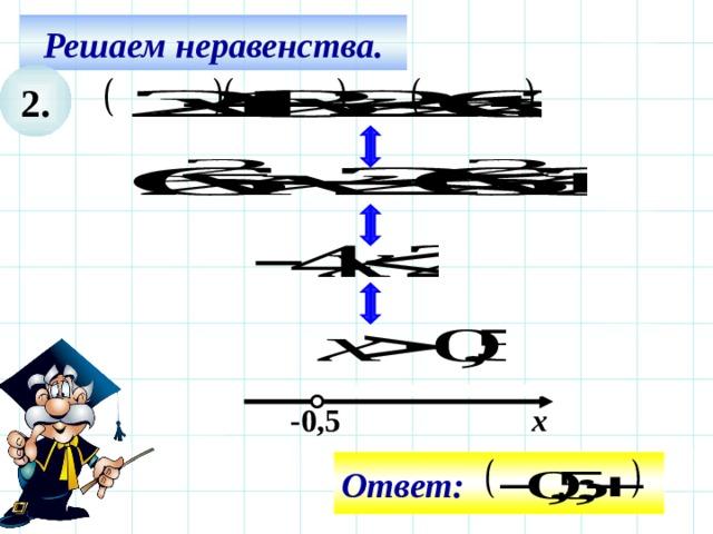 Решаем неравенства. 2. Все действия на слайде – последовательно щелчком мышки. -0,5 х Ответ: 11