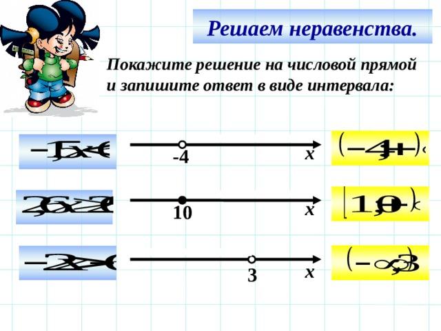 Решаем неравенства. Покажите решение на числовой прямой и запишите ответ в виде интервала:   х -4   х 10 Используем триггер, что позволяет учащимся определить последовательность решения примеров. Нажмите на голубой прямоугольник – появится соответствующий правильный ответ.   х  3 12