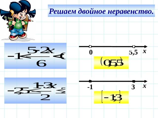 Решаем двойное неравенство.  х 5,5  0  Используем триггер, что позволяет учащимся определить последовательность решения примеров. Нажмите на голубой прямоугольник – появится соответствующий правильный ответ.  х  -1  3  22