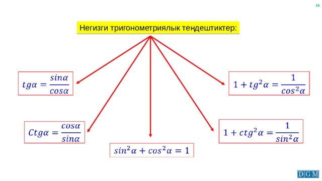 Негизги тригонометриялык теңдештиктер:
