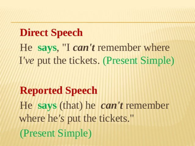 Direct Speech  Не says ,