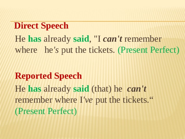 Direct Speech  He has  already said ,