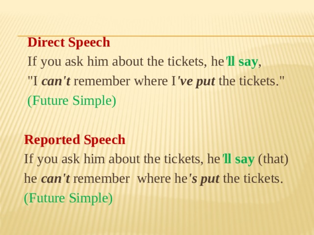 Direct Speech  If you ask him about the tickets, he ' ll say ,