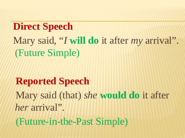 "Direct Speech  Mary said, "" I  will do it after my arrival"". (Future Simple)  Reported Speech  Mary said (that) she  would do  it after her arrival"".  (Future-in-the-Past Simple)"