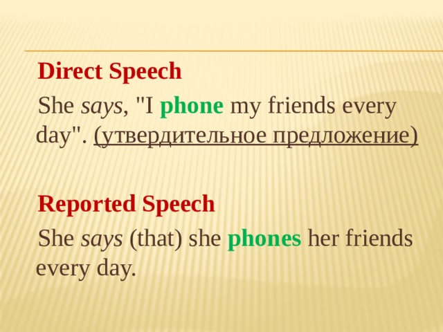 Direct Speech  She says ,
