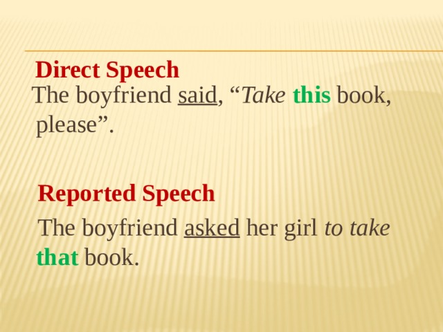"The boyfriend said , "" Take  this book, please"".  Reported Speech  The boyfriend asked her girl to take that book. Direct Speech"