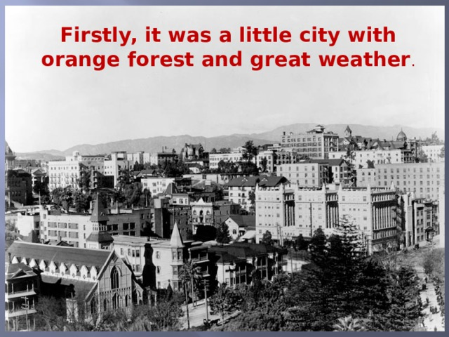 Firstly, it was a little city with orange forest and great weather .