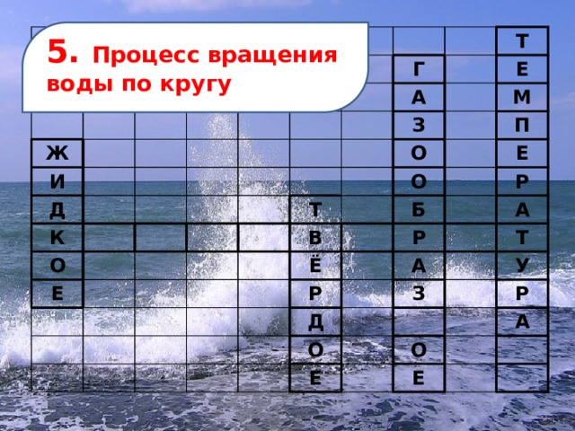 Ж И Д К О Г Т А Е Е З М О Т П В О Е Ё Б Р Р Р А Д А О З Т У Е Р О А Е 5. Процесс вращения воды по кругу