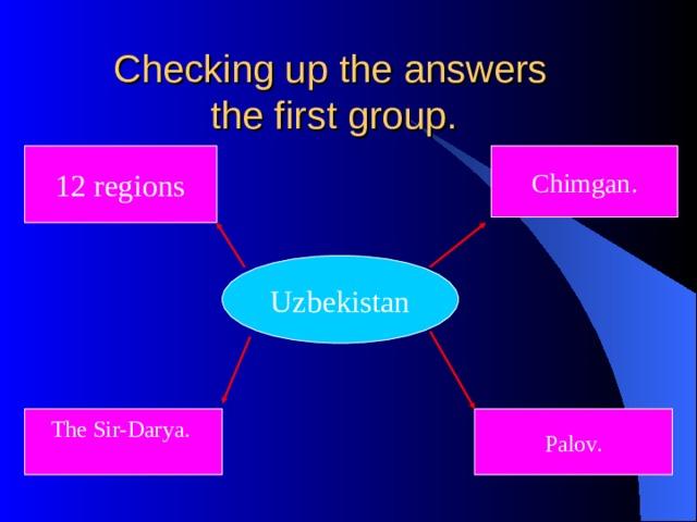 Checking up the answers  the first group. 12 regions Chimgan. Uzbekistan The Sir-Darya. Palov.