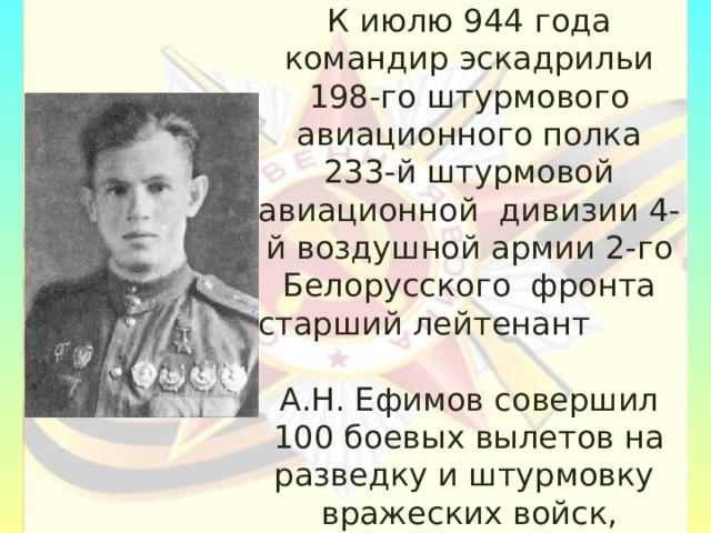 К июлю 944 года командир эскадрильи 198-го штурмового авиационного полка 233-й штурмовой авиационной дивизии 4-й воздушной армии 2-го Белорусского фронта старший лейтенант А.Н. Ефимов совершил 100 боевых вылетов на разведку и штурмовку вражеских войск, аэродромов, переправ и железнодорожных эшелонов.