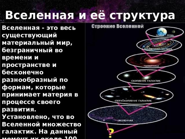 Вселенная и её структура Вселенная - это весь существующий материальный мир, безграничный во времени и пространстве и бесконечно разнообразный по формам, которые принимает материя в процессе своего развития. Установлено, что во Вселенной множество галактик. На данный момент их около 100 миллиардов. Часть Вселенной, охваченная астрономическими наблюдениями, называется Метагалактикой.