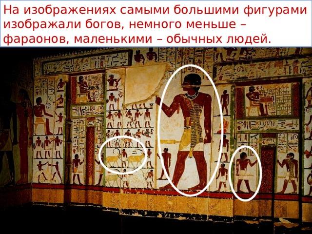 На изображениях самыми большими фигурами изображали богов, немного меньше – фараонов, маленькими – обычных людей.