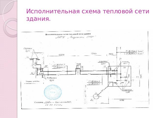 Исполнительная схема тепловой сети здания.